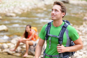 People hiking - man hiker walking in Zion Park