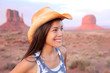 Cowgirl woman happy portrait in Monument Valley
