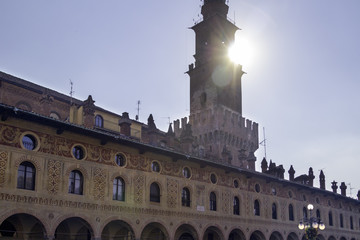 Ancient palaces on Piazza Ducale backlight color image