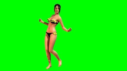 Hot Girl in sexy Bikini dances - green screen