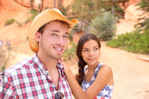 Couple portrait in american countryside outdoors.