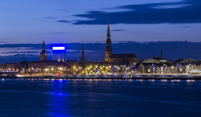 Night panoramic scene in Riga, Latvia