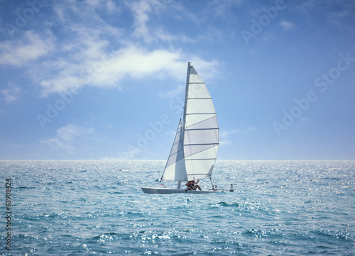 Lonely Sailing Ship Middle of The Ocean