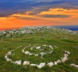 stone circles in mountains