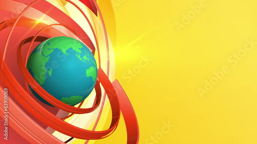 Rotating earth with circles background, loop 3