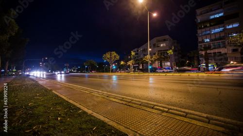 Foto op Aluminium Nacht snelweg Night City Traffic Time lapse Dolly Shot