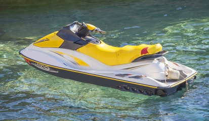 A Jetski parked on the waters of Black sea.