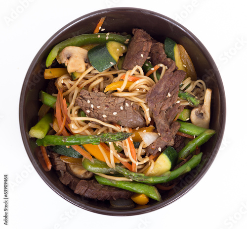 asian beef stir fry bowl isolated