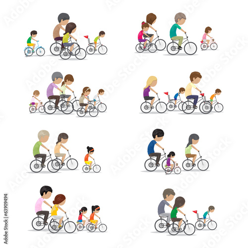 Family Riding A Bicycle - Isolated On White Background