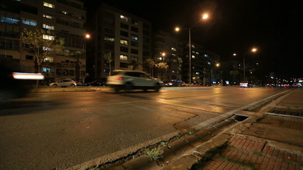 Night City and Traffic Time Lapse Tracking Shot