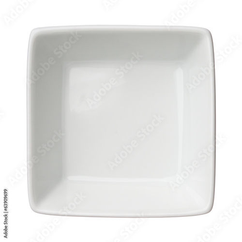 Empty clean square bowl isolated on white background