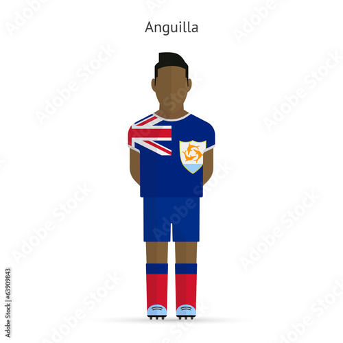 Anguilla football player. Soccer uniform.