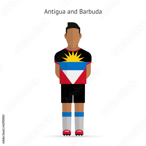 Antigua and Barbuda football player. Soccer uniform.