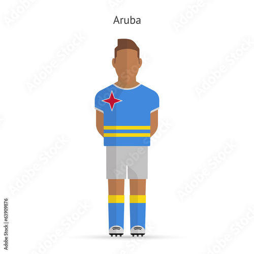 Aruba football player. Soccer uniform.