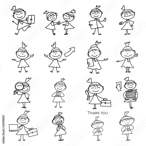 hand drawing cartoon concept happy business woman