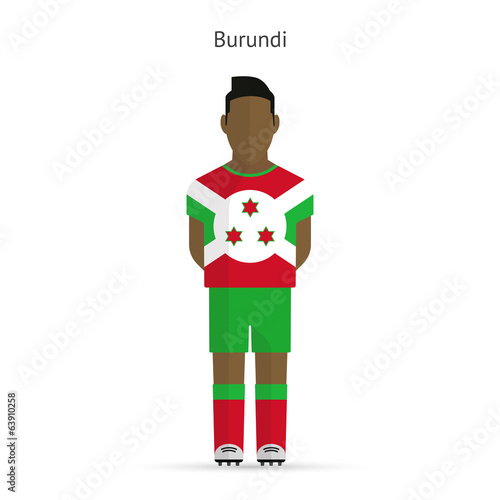 Burundi football player. Soccer uniform.
