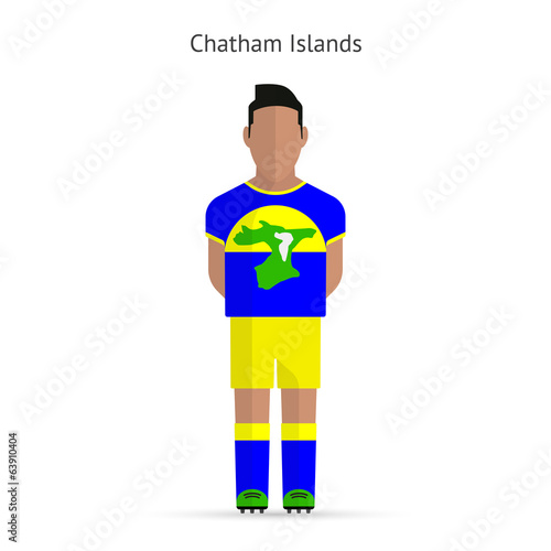 Chatham Islands football player. Soccer uniform.