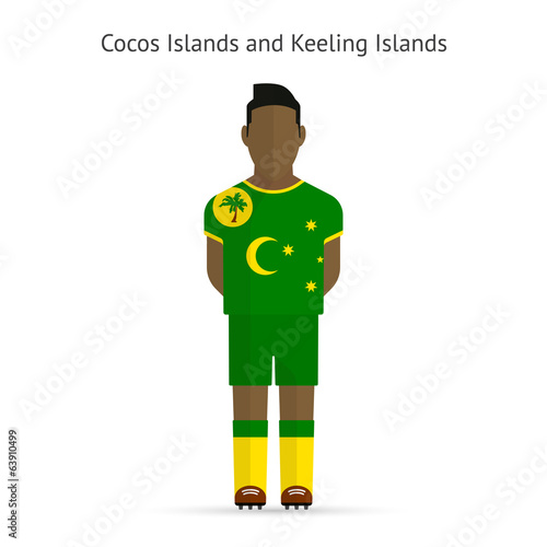 Cocos and Keeling Islands football player. Soccer uniform.