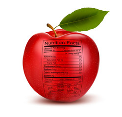 Apple with nutrition facts label. Concept of healthy food. Vecto