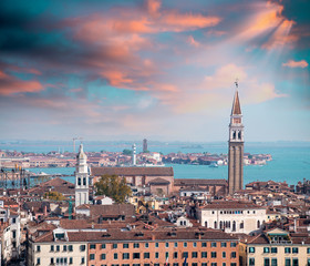 Panorama of Venice with Murano on background