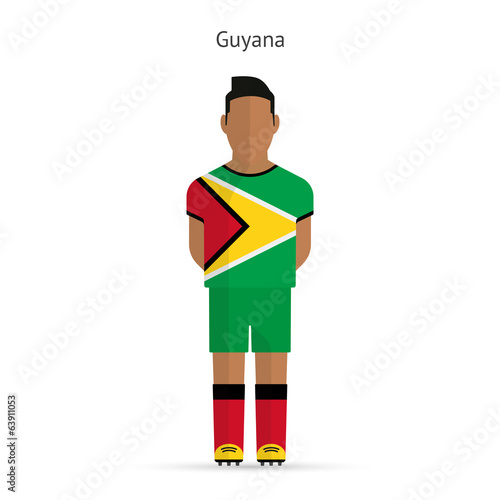 Guyana football player. Soccer uniform.