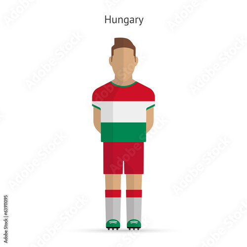 Hungary football player. Soccer uniform.