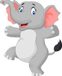 Cute happy cartoon elephant