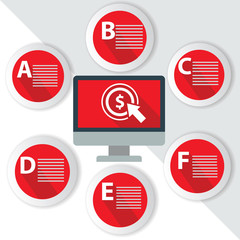 Click Money Infographics,for text,Red vector