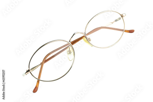 Old glasses for problem vision fold isolated
