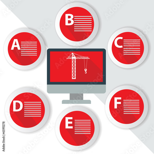 Construction Infographics,for text,Red vector
