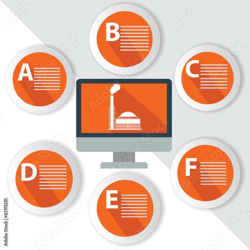 Industry Infographics,for text,Orange vector