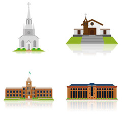 Set Of Different Building Illustrations Isolated