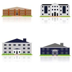 Vector Set Of Different Building Illustrations Isolated