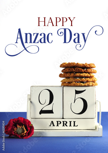 White vintage calendar for Anzac Day with text