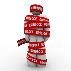 Gridlock Man Wrapped in Tape Immobile Person Bureaucracy Stoppag