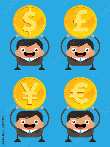 Business Men Holding Currency Gold Coins
