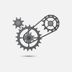 Chain with cogwheels icon