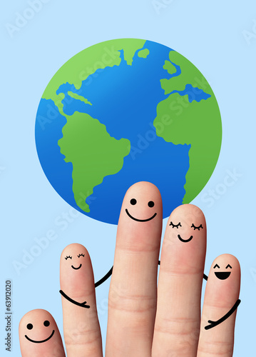 Happy family with the earth, travel, environmental protection co