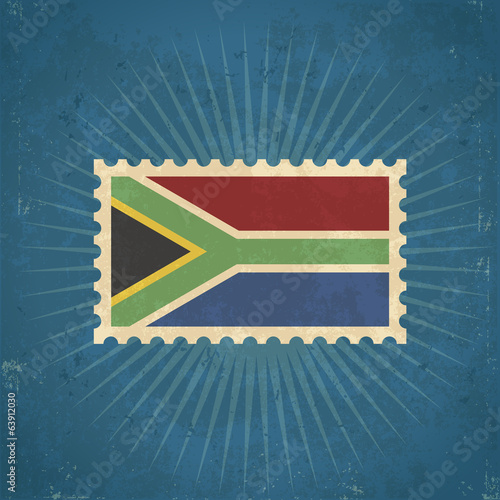 Retro South Africa Flag Postage Stamp