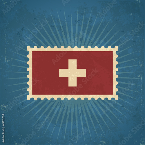 Retro Switzerland Flag Postage Stamp