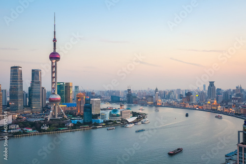beautiful shanghai at dusk