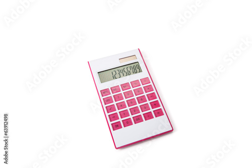 Pink and white calculator