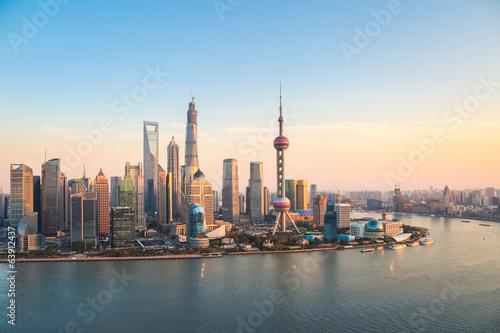 Plakát, Obraz shanghai pudong at dusk