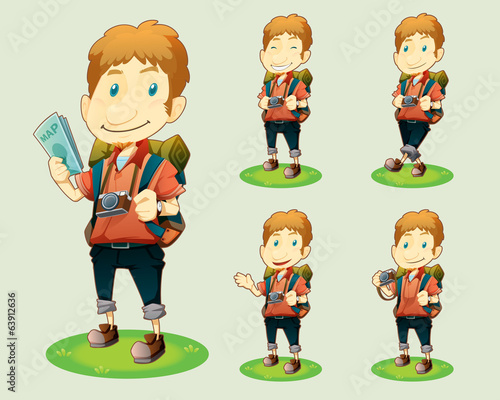 cartoon traveller set various poses