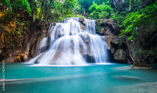 Deep forest waterfall at Huay Mae Khamin, Kanchanaburi Province, - 63913031