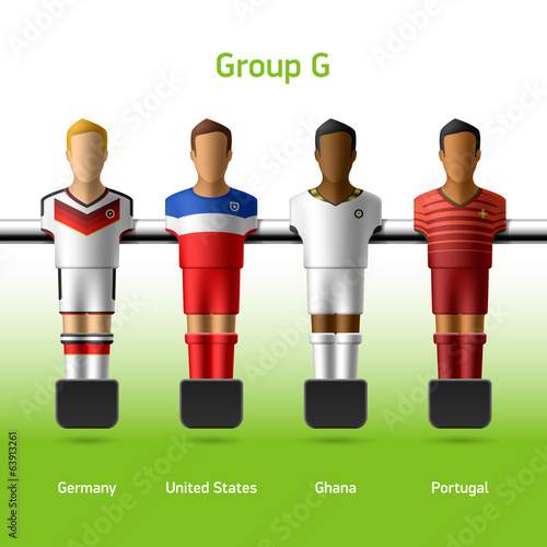 Table football / foosball players. World Cup in Brazil 2014.