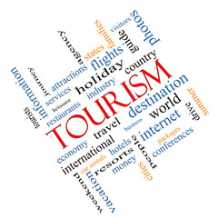 Tourism Word Cloud Concept Angled