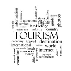 Tourism Word Cloud Concept in black and white