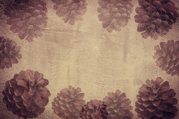 Vintage background with pine cones