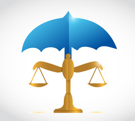 umbrella over a balance illustration design
